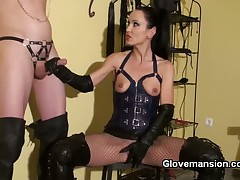 Brunette lady tormented her slaveboy a lot
