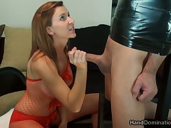 Brutal handjob and winkle slapping to slave