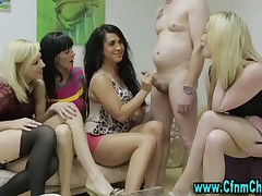 Totally nude guy and several dressed girls