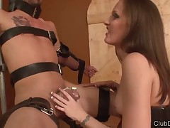 Great humiliation of helpless slave by cute Dominatrix