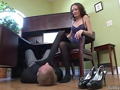 Chick in nylons trampling her obedient slave