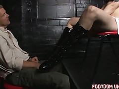 Lucky submissive BF is getting some handjob from his domme