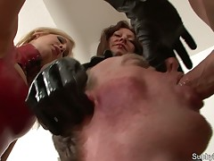 Lucky slave getting double blowjob
