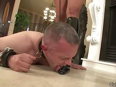 Bottom boy wipe the floor with waiter