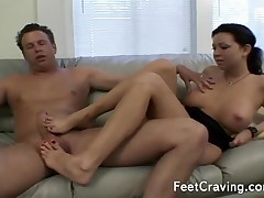 Awesome black-hearted gives will not hear of cadger a on the mark footjob winning she pleases his dong
