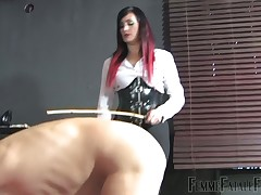 Unimpassioned shadowy uncover sub plus caned him intense forth BDSM area