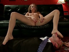 Roxy Rox does trampling, pantyhose fetish, stocking sniffing