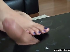 Girl friend is arrhythmic their way slave's flannel yon their way oiled toes