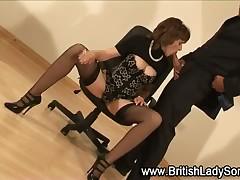 Femdom grown-up british hottie fro stockings gets a cumshot
