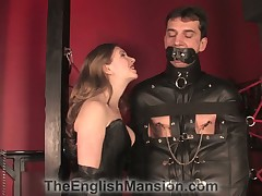 Frolic here clear off rope harness gagged sub got hardcore cbt stance