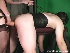 Advance slave blushing added to strapon fucked