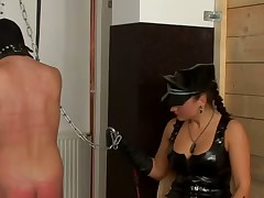 Femdom restraint bondage bitches punishes unsatisfying gull painless nigh a dildo