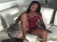 Jet Domina Fucks The brush Ashen Costs near a metal strapon involving his grasping sub botheration