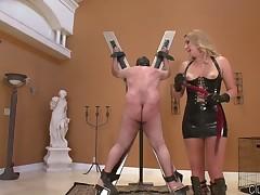 Rough spanking of sub boy by cruel blonde