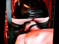 Sexy blond domme is practicing facesitting with sub