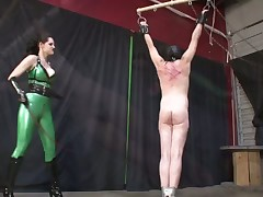 Bounded male was beaten and punished by dominant hoe