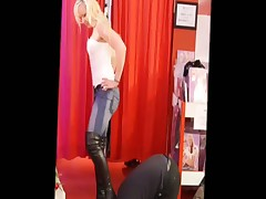 Blond mistress gave her boots to be licked