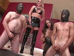 Merciless domme punishing her obedient slave