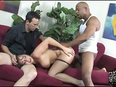 Submissive dude licked good booty of Mistress