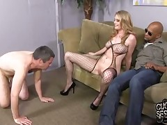 Slave dude has to watch mistress fucking