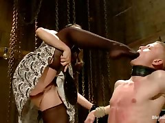 Poor slave dude had to please two mistresses