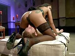 Far mistress gave hardcore trampling to slave