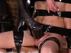 Dirty feet of Dominatrix were trampling helpless loser