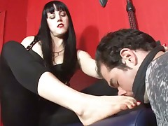 Blond Mistress tortured slave with her feet