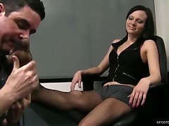 Foot slave was abused by mistress with black boots