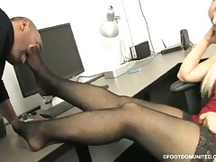 Woman on high red heels was licked by foot malesub
