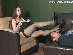 Sexy domme in nylons adores torturing her sub