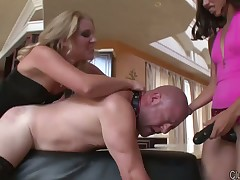 Blond mistress and her sub in brutal humiliating porn