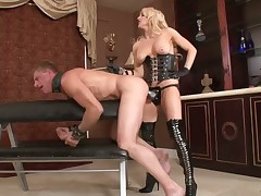 Angry domme punished her sub making him lick her feet