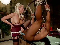 Gorgeous blonde headmistress tortures and copulates her slave