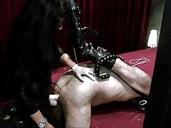 Slave in mask was pumped and spanked