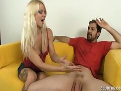 Sexy bitch Caroline makes horny dude happy with handjob
