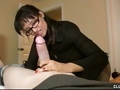 Horny MILF Angie Niore drives mad of big cock jerking