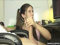 Horny teen girl giving handjob to big mature dork