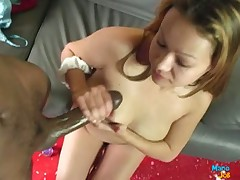 Perverse amateurish virago loves stroking cocks work on filthy facials