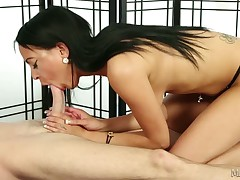 Brutal whore Kimberly massaging huge cock of lucky dude