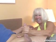 Kinky granny Jennie Lou still passionate for handjob