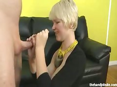 Shy petite blonde hottie rubbing big cock till cum