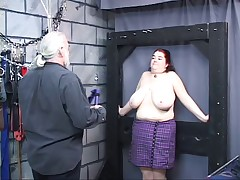 BBW slave enjoys getting her huge tits and ass cheeks whipped
