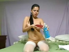 Hot latina dildoing will not hear of arse peculiar abyss