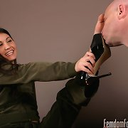 The patient turned foot slave enters a room where Jade is ..