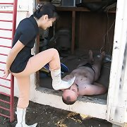 Mistress tramples a bad boy outdoor