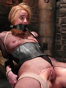 Blonde slave hard tied and fucked