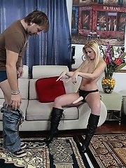 Dominant woman fucks her man with a dildo