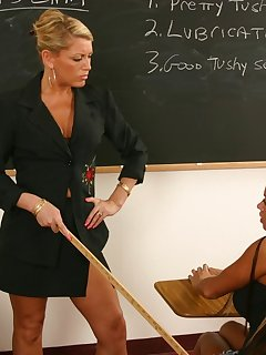 <!–-IMAGE_COUNT-–> of Blond teacher catches and spanks hot girl