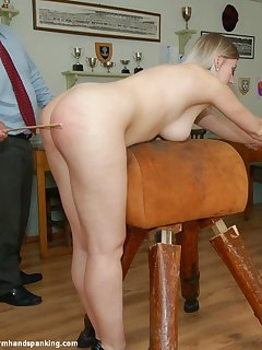 <!–-IMAGE_COUNT-–> of Stripped naked, Belinda Lawson's peachy bottom is caned in hot series finale